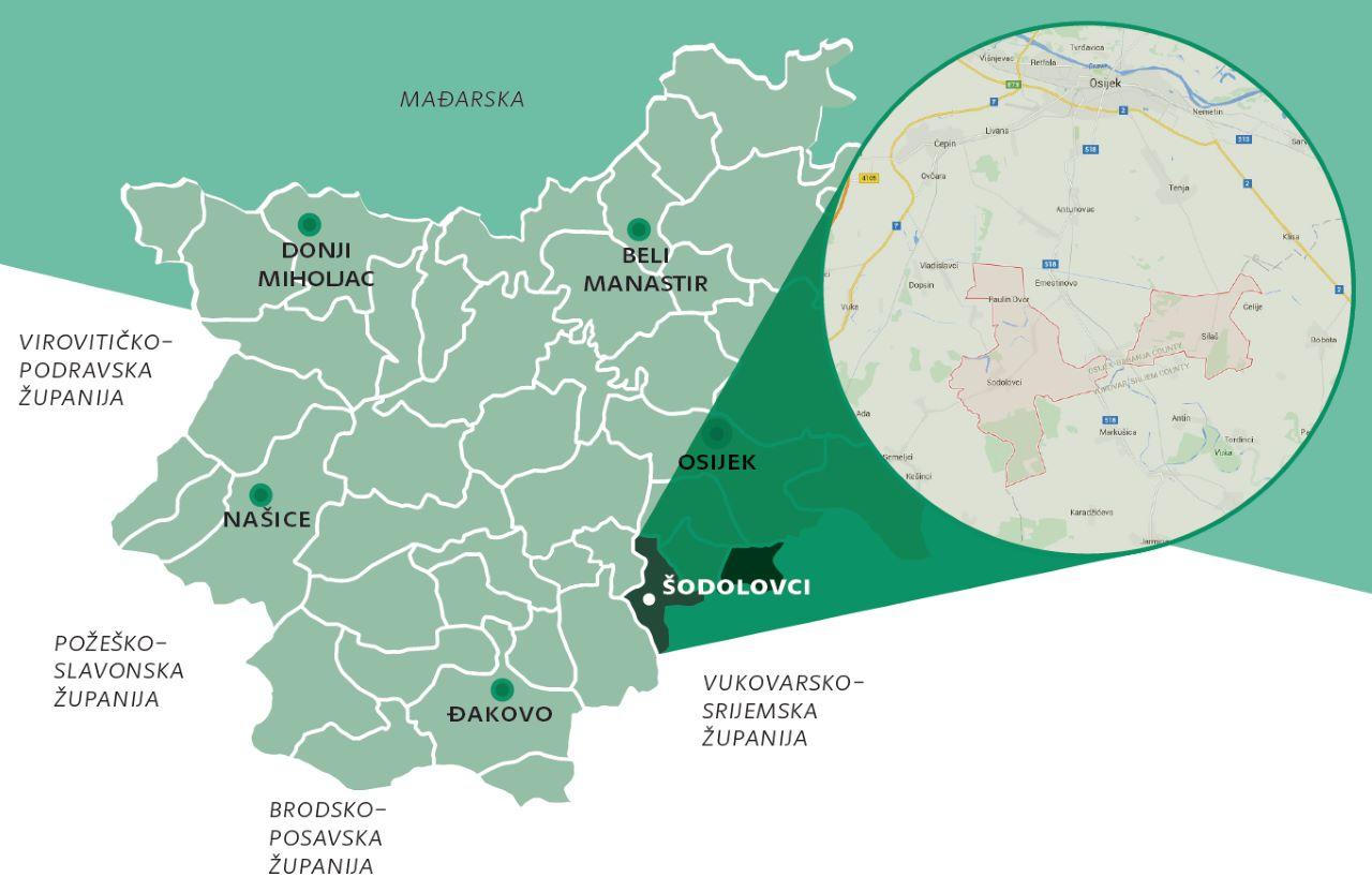 Geografski položaj Općine Šodolovci